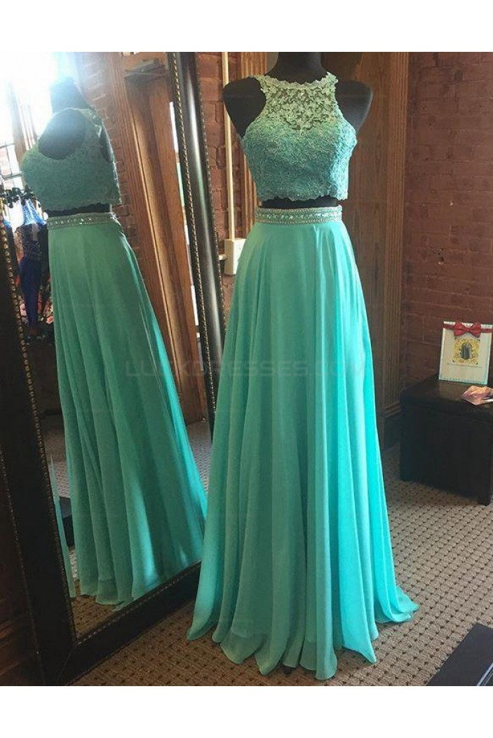 Beaded Lace Chiffon Two Pieces Prom Evening Party Dresses 3020674