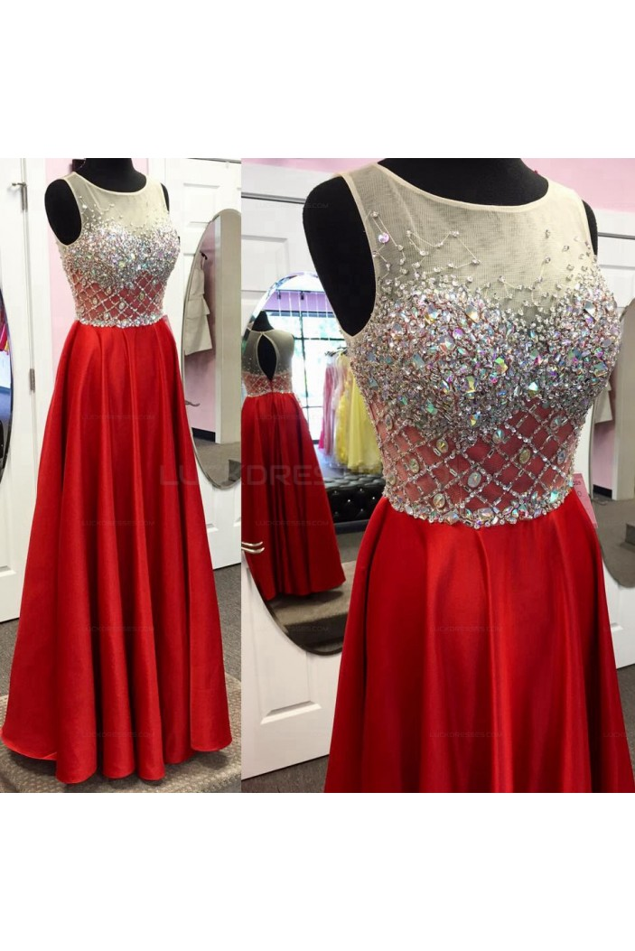 Long Red Beaded Prom Evening Party Dresses 3020675