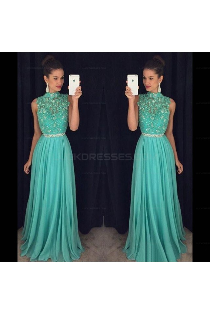 Beaded Lace Appliques Chiffon Prom Evening Party Dresses 3020677