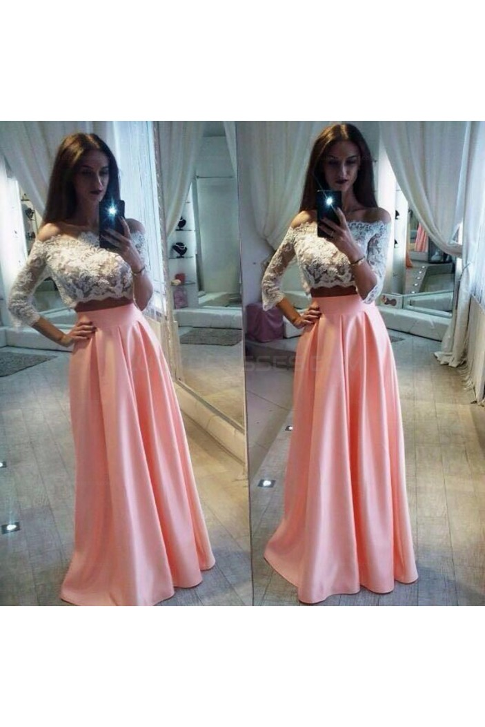 Two Pieces Off-the-Shoulder Lace Pink White Prom Evening Party Dresses 3020681