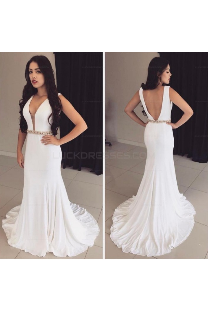 Long White Mermaid Beaded Prom Evening Party Dresses 3020682