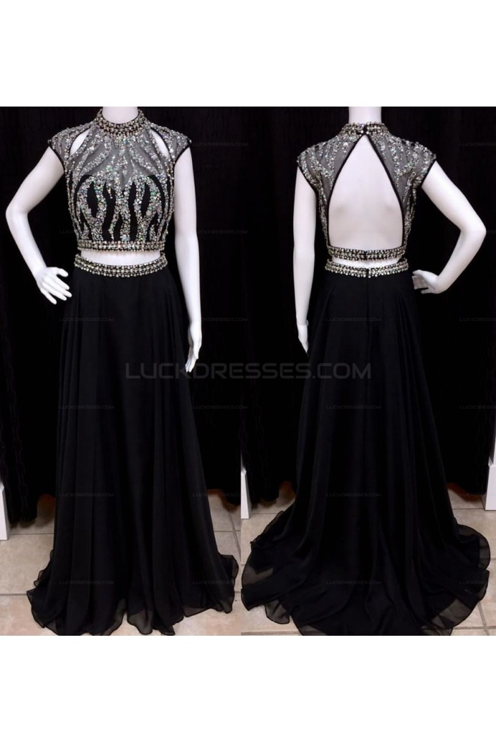 Long Black Two Pieces Beaded Chiffon Prom Evening Party Dresses 3020683