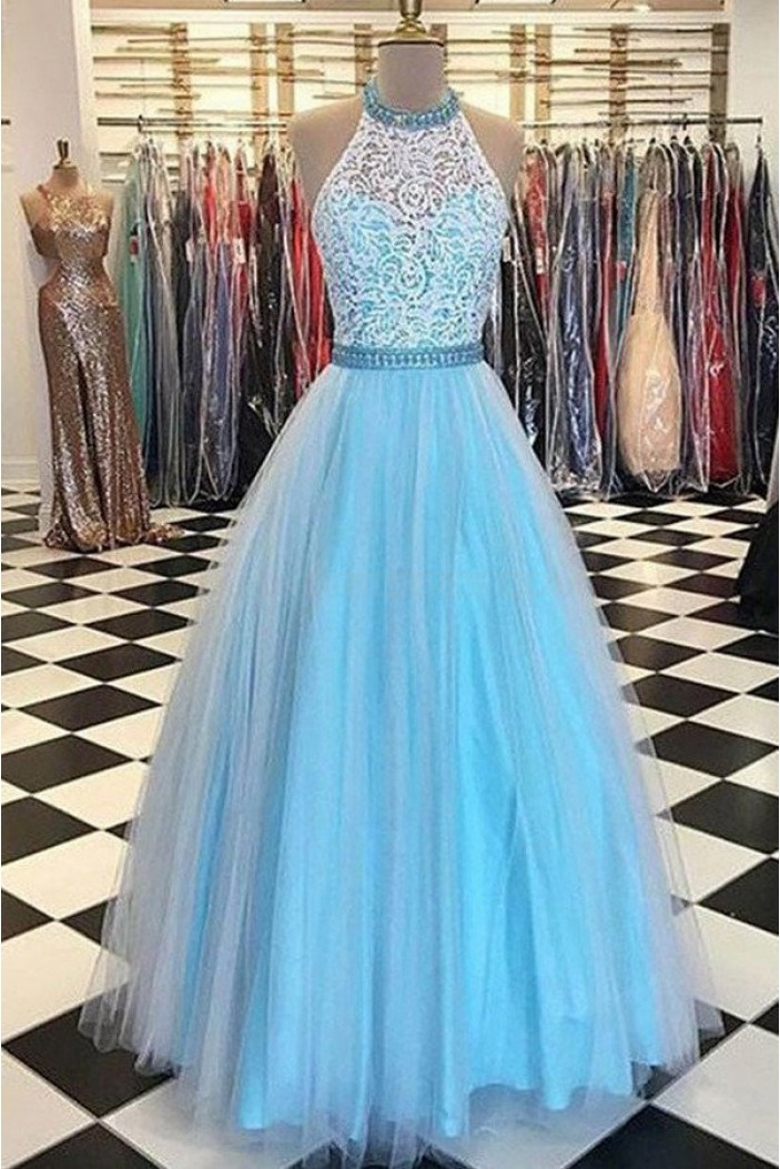 Ball Gown Halter Long Prom Evening Party Dresses 3020686