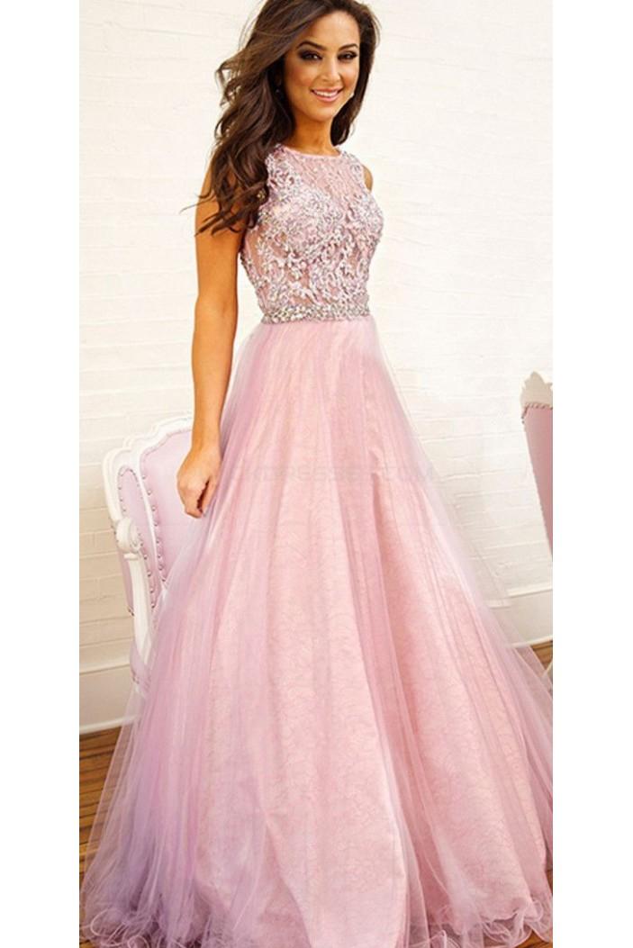 Elegant Long Pink Prom Evening Party Dresses 3020687