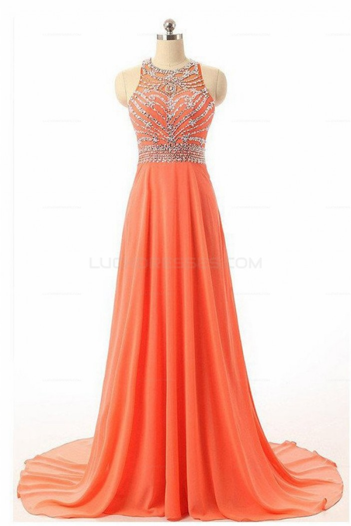 A-Line Beaded Long Chiffon Prom Evening Party Dresses 3020688