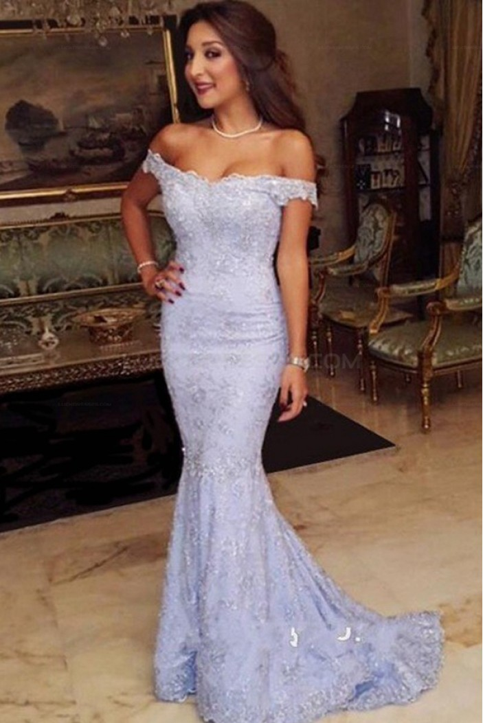 Mermaid Off-the-Shoulder Lace Long Prom Evening Party Dresses 3020690