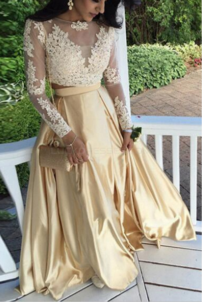 Long Sleeves Lace Appliques Two Pieces Prom Evening Party Dresses 3020699