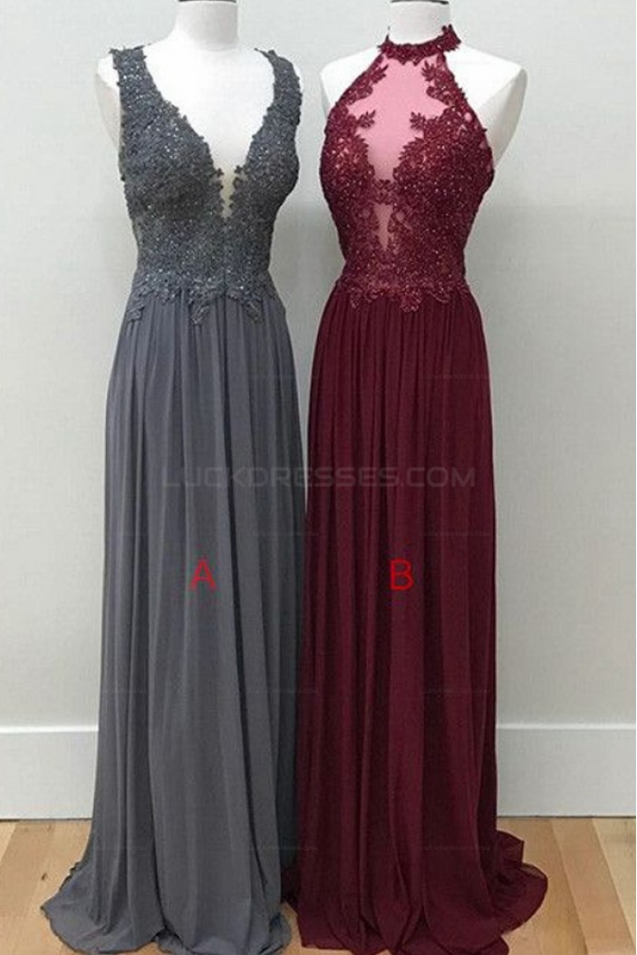 Sheath Lace Appliques Chiffon Long Prom Evening Party Dresses 3020700
