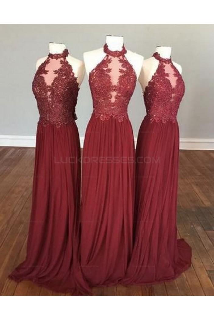 Sheath Halter Lace Appliques Chiffon Long Prom Evening Party Dresses 3020701