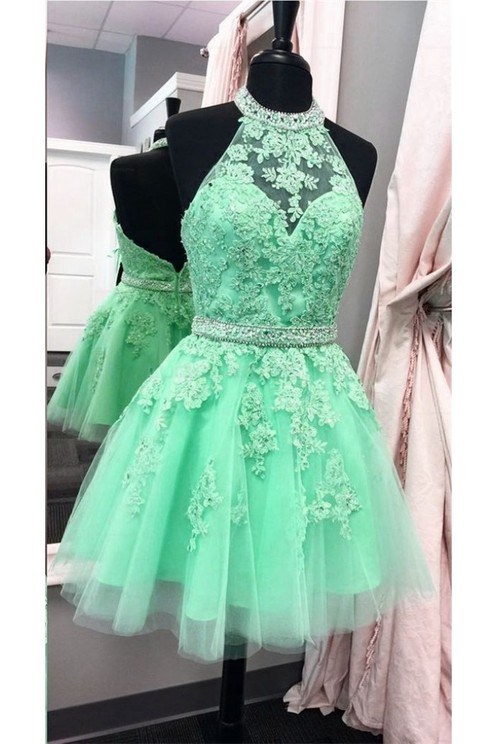 Halter Short Green Beaded Lace Prom Party Homecoming Graduation Dresses 3020706