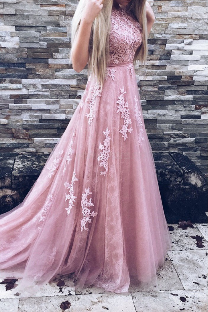 Elegant Lace and Tulle Long Prom Evening Party Dresses 3020708
