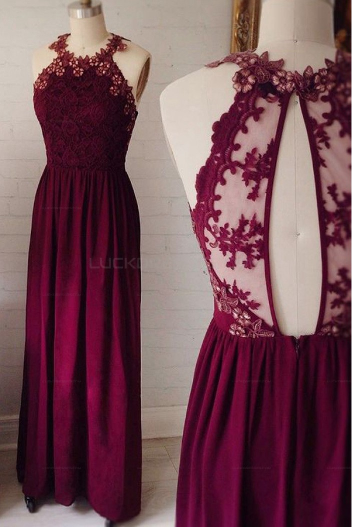 Lace and Chiffon Long Prom Evening Party Dresses 3020711