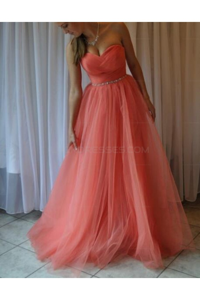Beaded Sweetheart Tulle Ball Gown Long Prom Evening Party Dresses 3020715