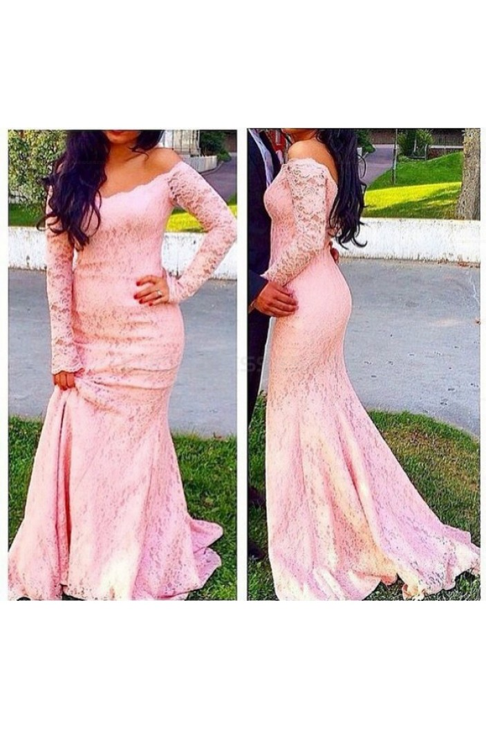 Mermaid Long Sleeves Pink Off-the-Shoulder Lace Prom Evening Party Dresses 3020716