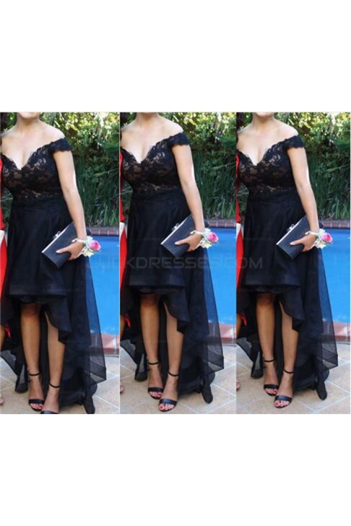 High Low Off-the-Shoulder Lace Short Prom Homecoming Graduation Party Dresses 3020717