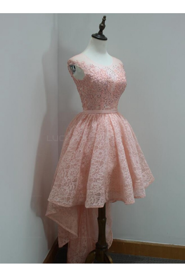 High Low Short Pink Beaded Lace Prom Homecoming Graduation Party Dresses 3020719