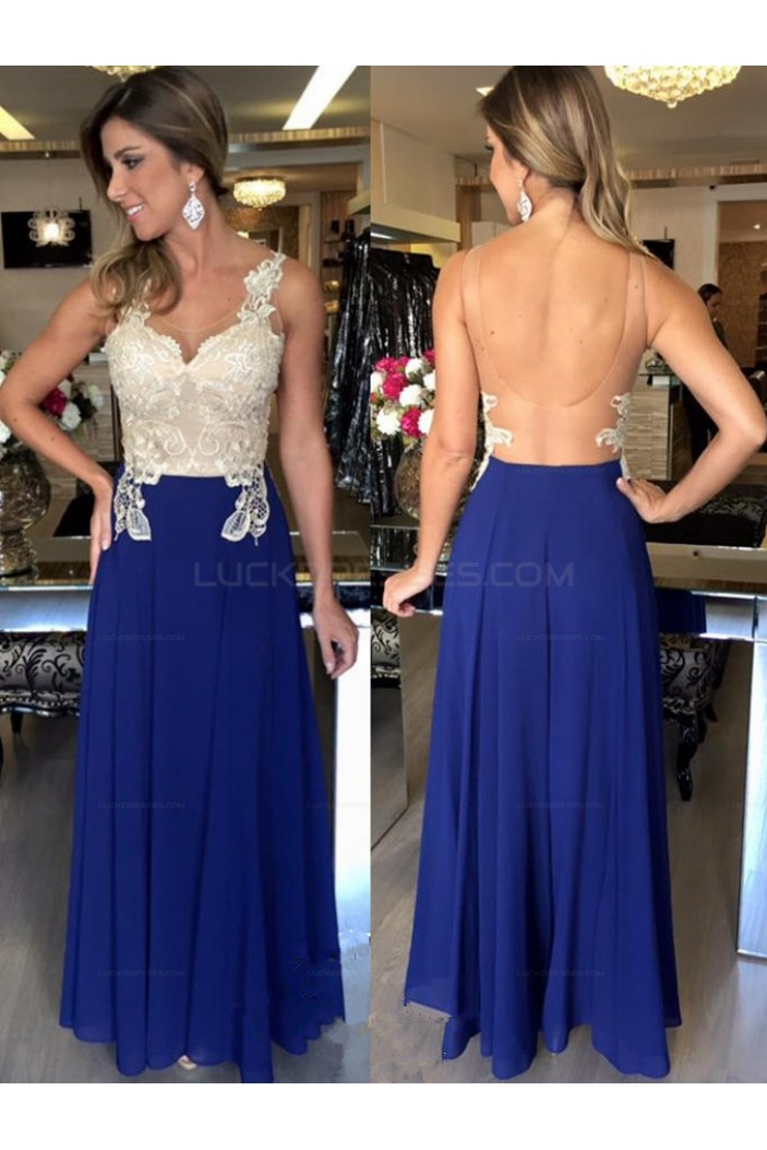 Long Blue White Lace Chiffon Prom Evening Party Dresses 3020722
