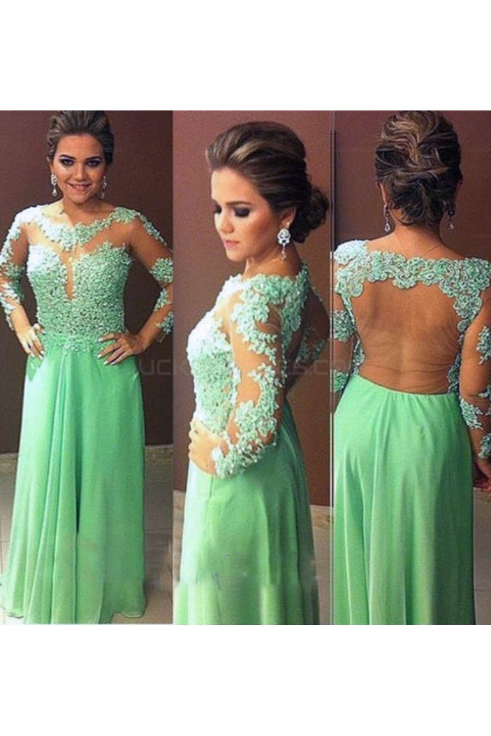 Long Sleeves Lace Appliques and Chiffon Prom Evening Party Dresses 3020724