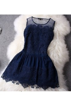 Short Navy Blue Lace Prom Evening Formal Dresses 3020728