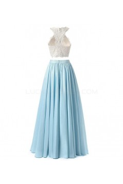 Two Pieces Lace White Blue Long Prom Evening Formal Dresses 3020731