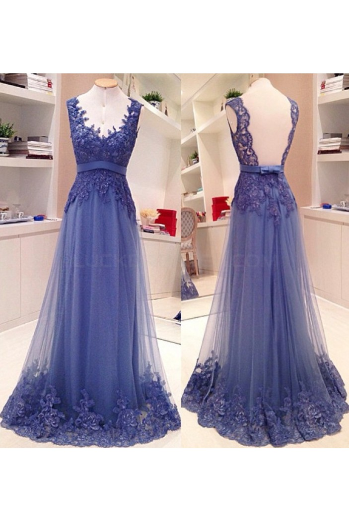 Long Blue Lace Prom Dresses Evening Gowns 3020734