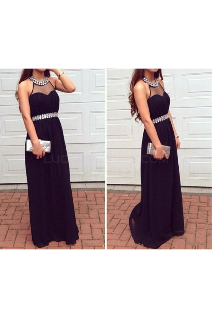 Long Black Beaded Prom Dresses Party Evening Gowns 3020735