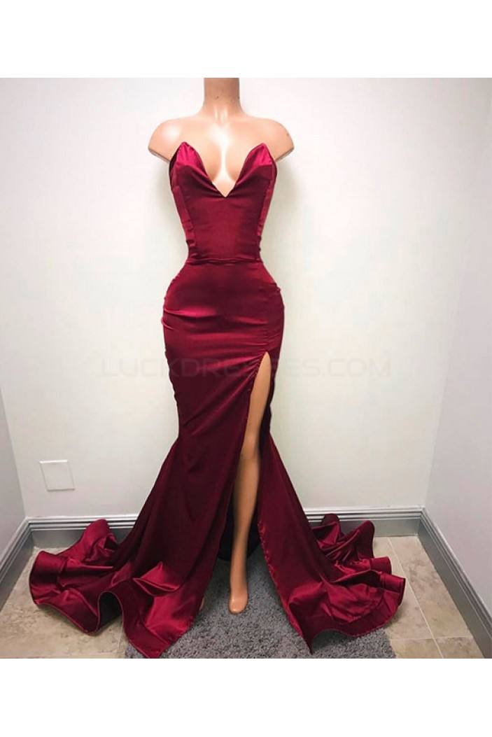 Mermaid V-Neck Long Prom Dresses Party Evening Gowns 3020738