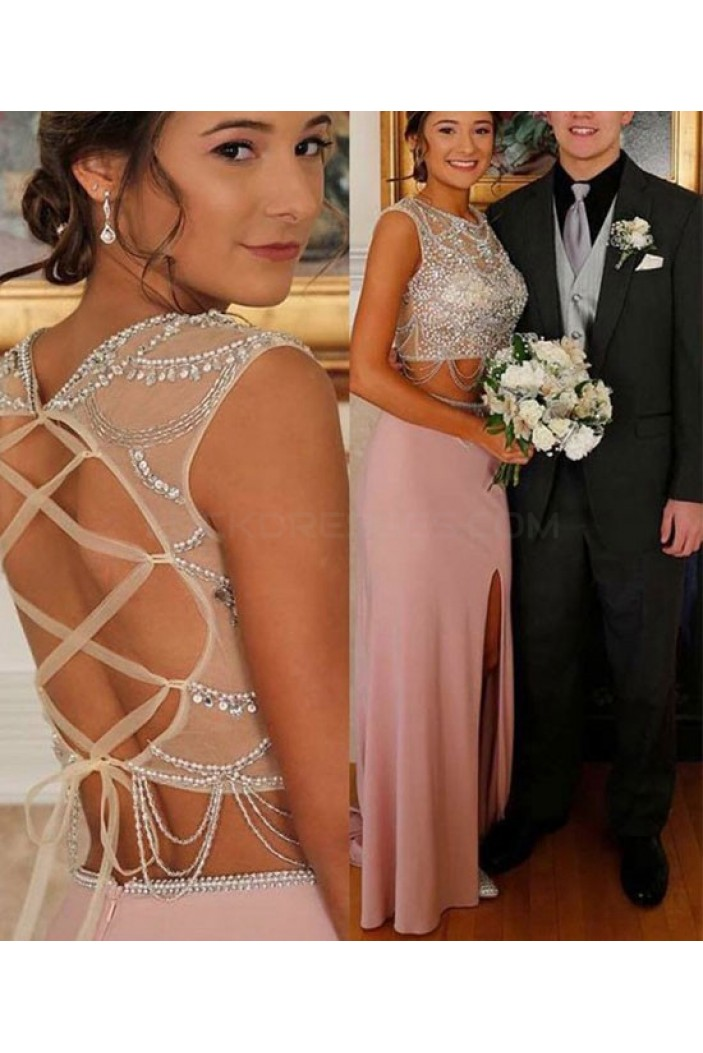 Two Pieces Beaded Prom Dresses Party Evening Gowns 3020740