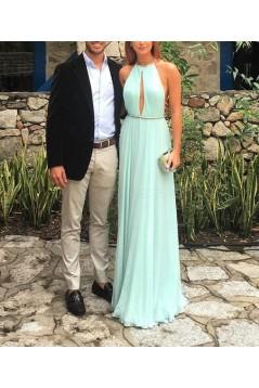 Elegant Chiffon Halter Long Prom Dresses Party Evening Gowns 3020742