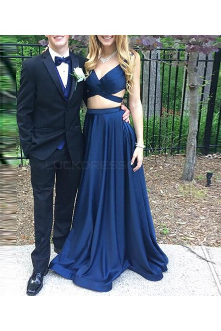 Two Pieces Long Blue Prom Dresses Party Evening Gowns 3020744