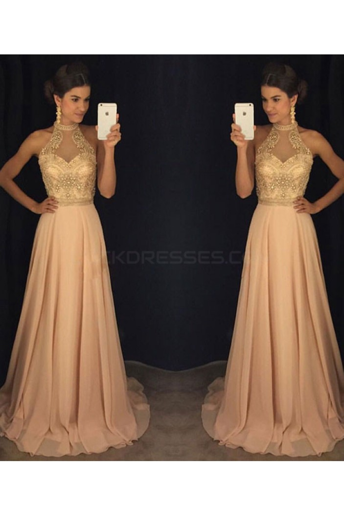 Beaded Long Chiffon Prom Dresses Party Evening Gowns 3020749