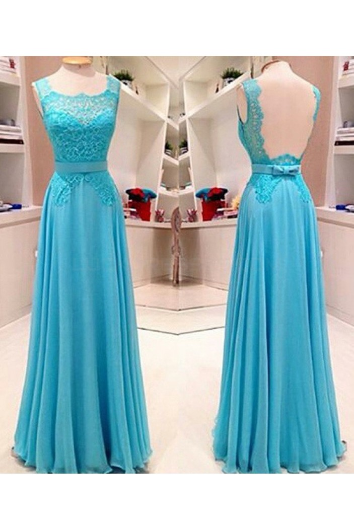 Long Blue Lace Chiffon Prom Dresses Party Evening Gowns 3020750