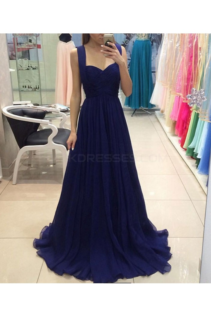 Long Blue Chiffon Prom Dresses Party Evening Gowns 3020751