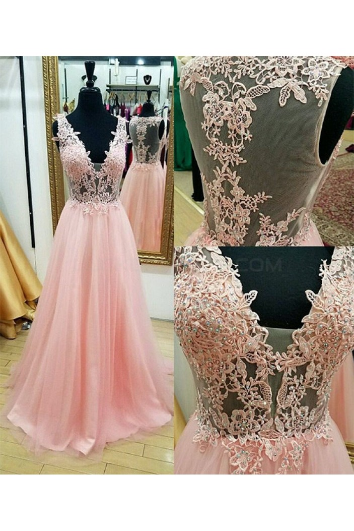 A-Line Beaded Lace V-Neck Long Pink Prom Dresses Party Evening Gowns 3020755