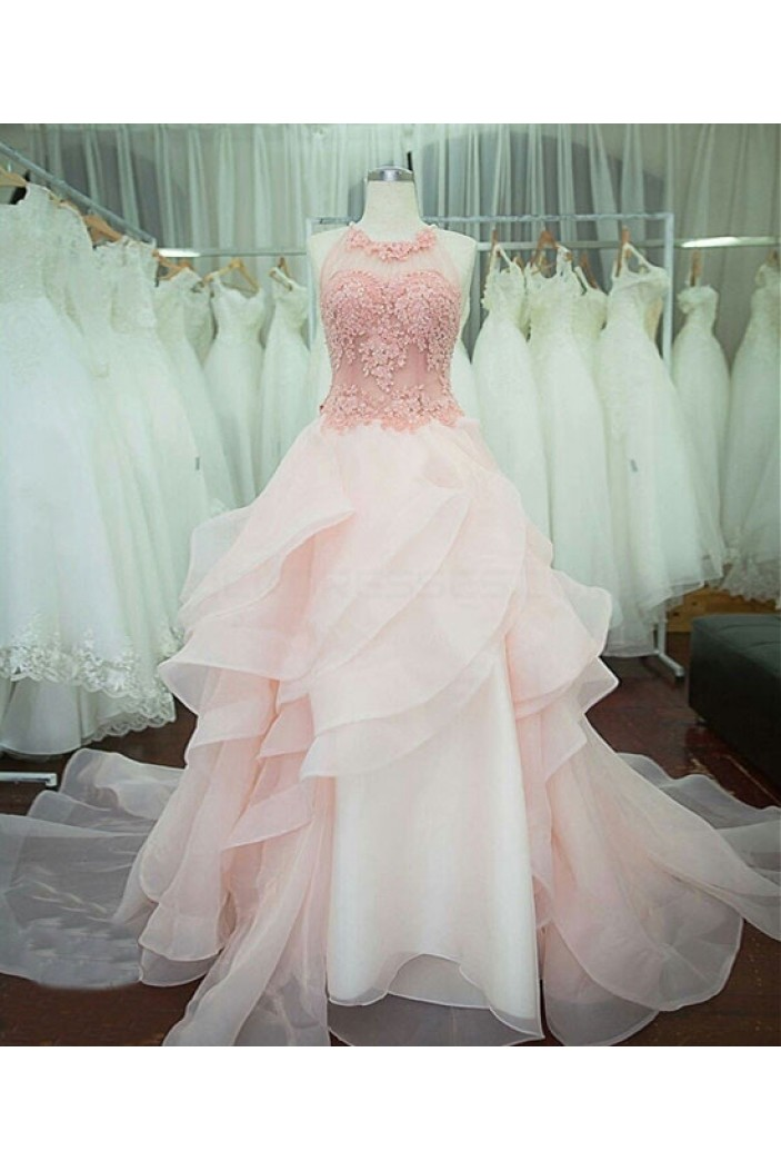 Long Pink Lace Prom Dresses Party Evening Gowns 3020757