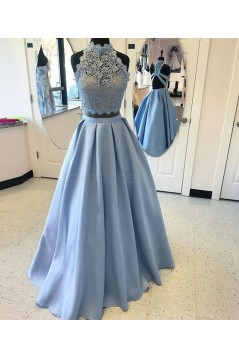 Long Blue Two Pieces Beaded Lace Prom Dresses Party Evening Gowns 3020758