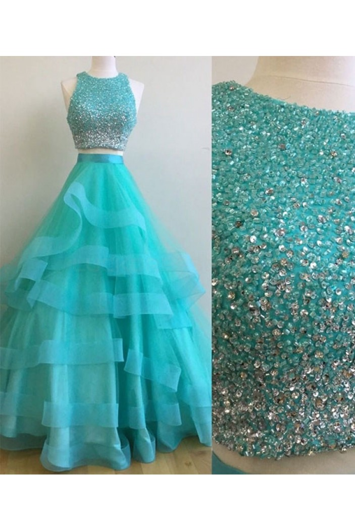 Two Pieces Beaded Prom Dresses Party Evening Gowns 3020759