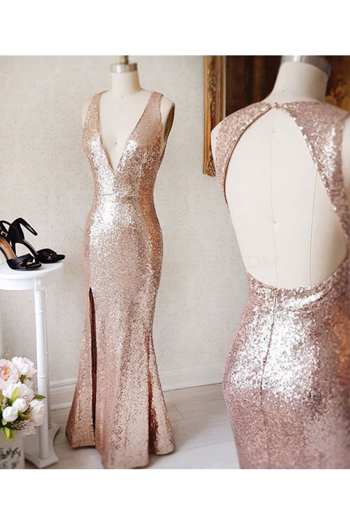 Mermaid Sequins V-Neck Long Prom Dresses Party Evening Gowns 3020760