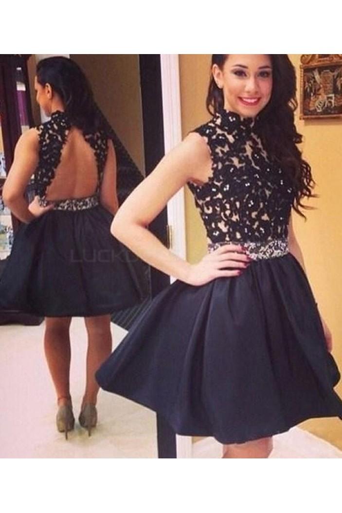 Short Black Beaded Lace Appliques Prom Homecoming Graduation Dresses 3020761