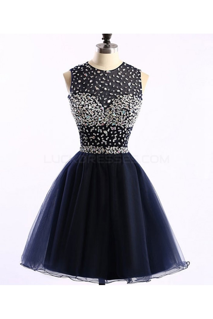 Short Navy Blue Beaded Prom Homecoming Graduation Dresses 3020763