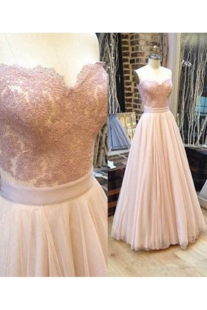 A-Line Lace Long Prom Formal Evening Dresses 3020766