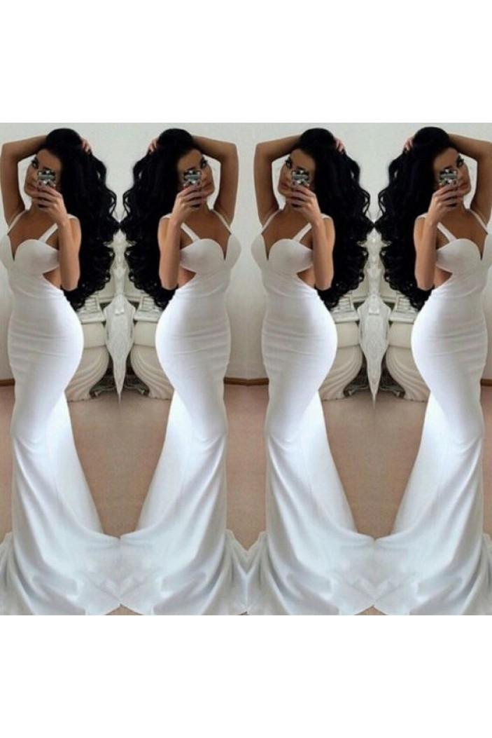 Mermaid Long White Prom Formal Evening Party Dresses 3020768