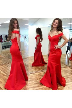 Mermaid Long Red Off-the-Shoulder Prom Formal Evening Party Dresses 3020769