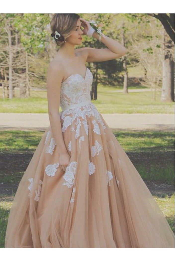 Ball Gown Sweetheart Tulle Lace Appliques Long Prom Formal Evening Party Dresses 3020770