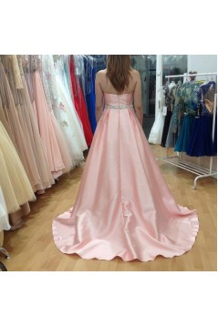 A-Line Long Pink Sweetheart Beaded Prom Formal Evening Party Dresses 3020776
