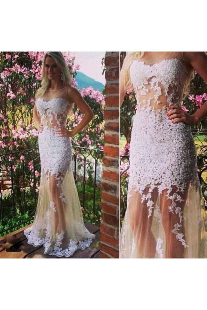 Sexy Lace Appliques Long Prom Formal Evening Party Dresses 3020777