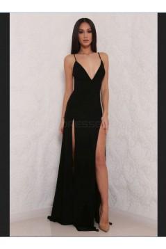 Sheath High Slit V-Neck Backless Long Red Prom Formal Evening Party Dresses 3020779
