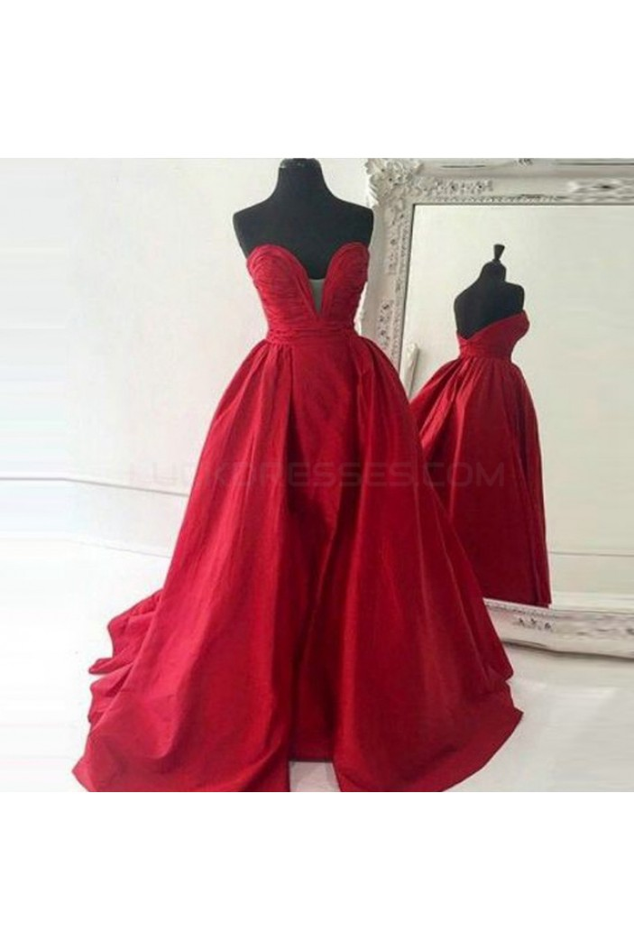 Ball Gown Sweetheart Long Red Prom Formal Evening Party Dresses 3020780