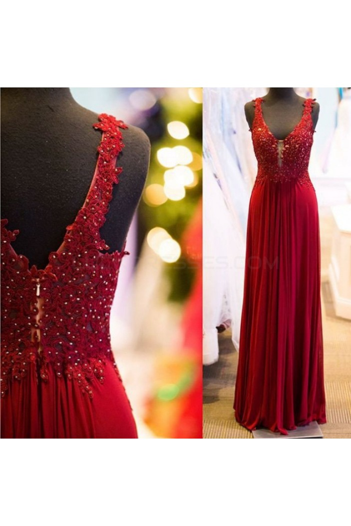 Sheath/Column Lace V-Neck Chiffon Long Red Prom Formal Evening Party Dresses 3020784