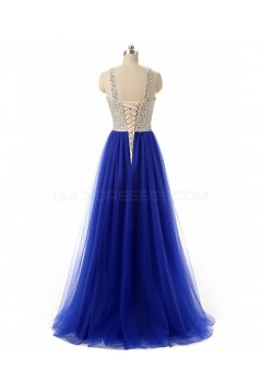Long Blue Beaded Prom Formal Evening Party Dresses 3020789